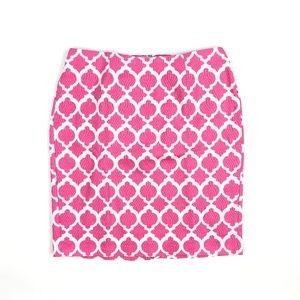 Talbots Pink Geometric Print Pencil Skirt